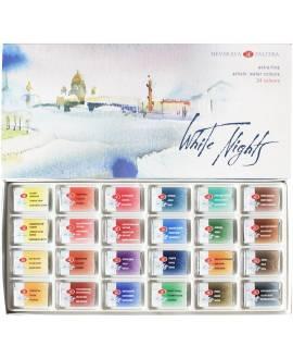 White Nights Aquarellfarben, 24er Kartonbox - Bild vergrößern