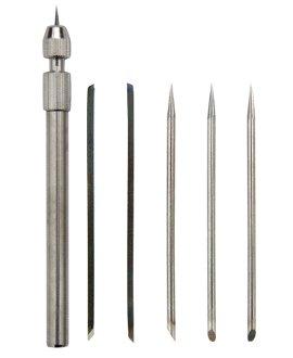 Radiernadelhalter aus Stahl mit 5 Nadeln